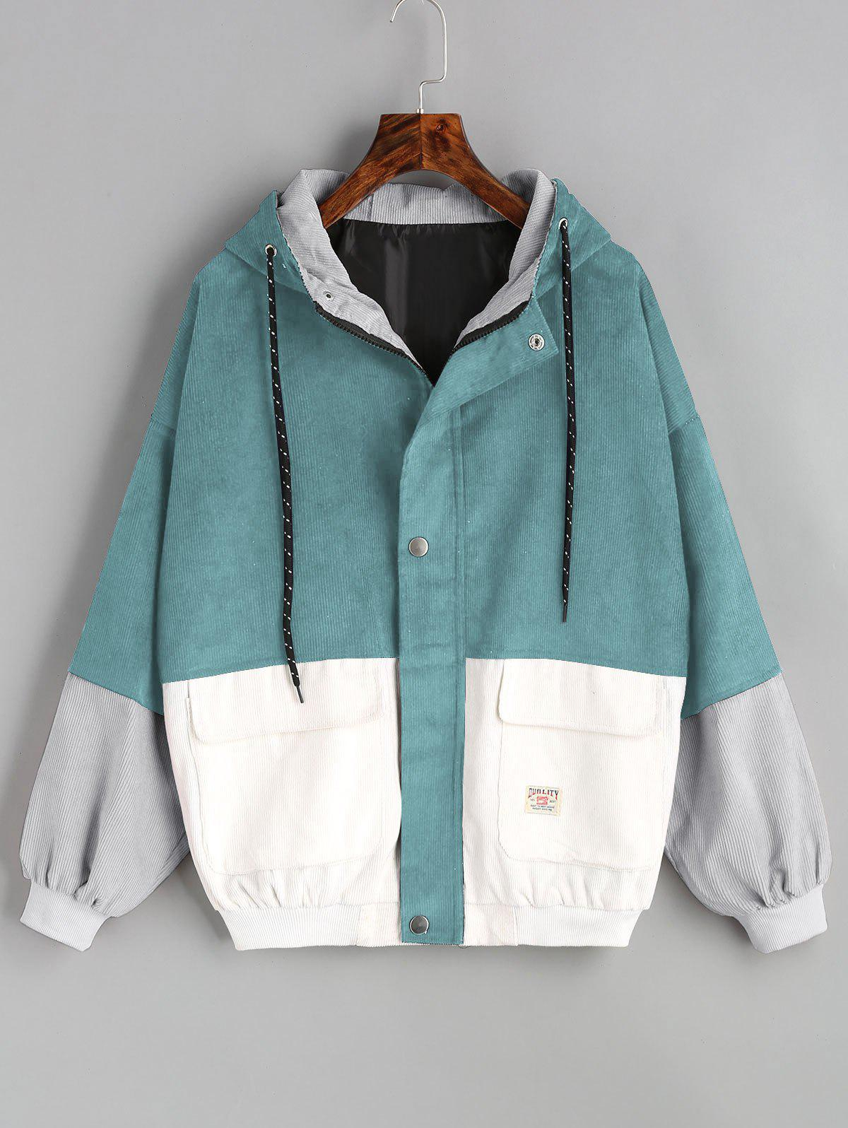 Shop Color Block Hooded Corduroy Jacket
