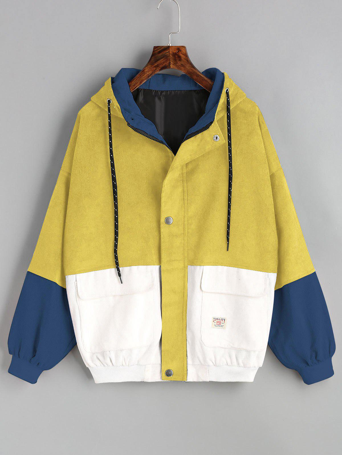Latest Color Block Hooded Corduroy Jacket