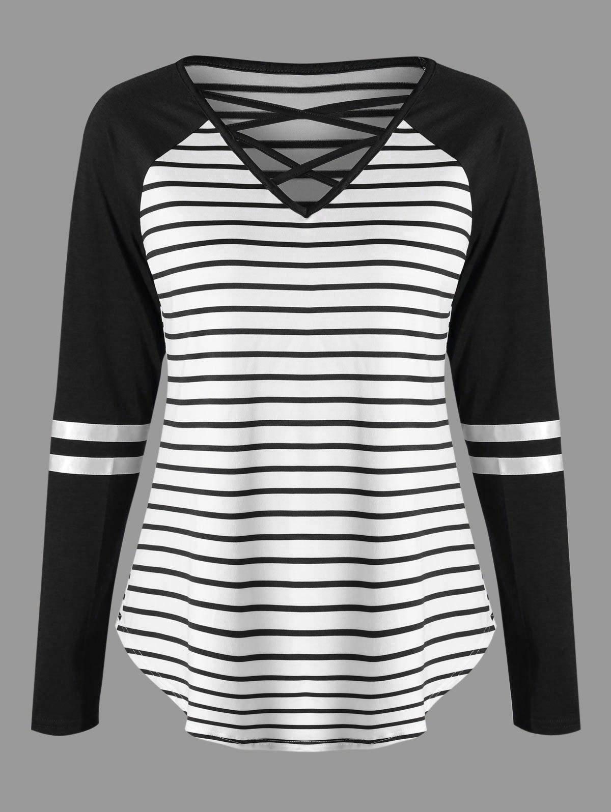 Store Lattice Neck Striped Curved Jersey Top