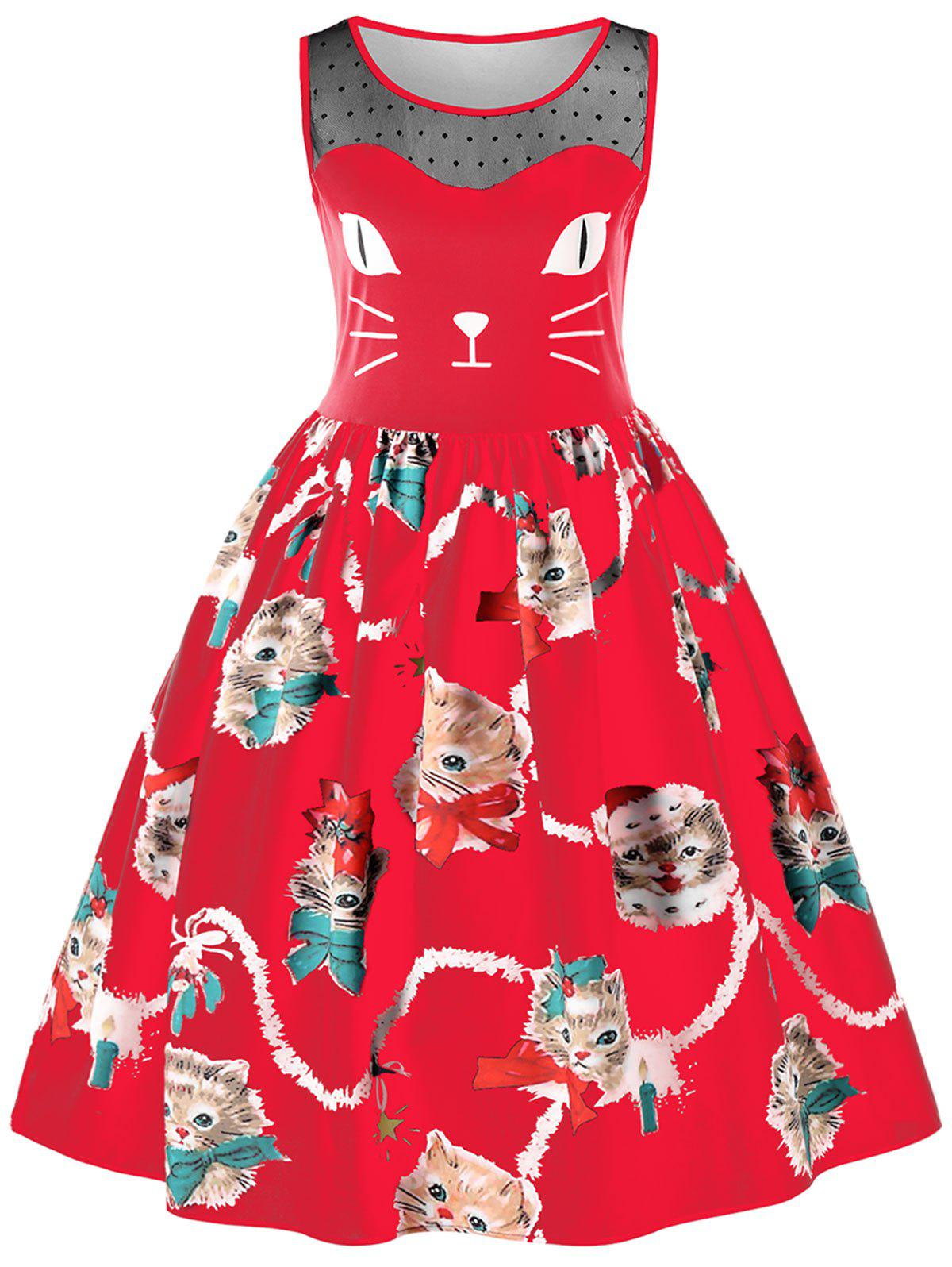 cbe17aaf0 38% OFF] Sleeveless Kitten Print Swing Dress | Rosegal