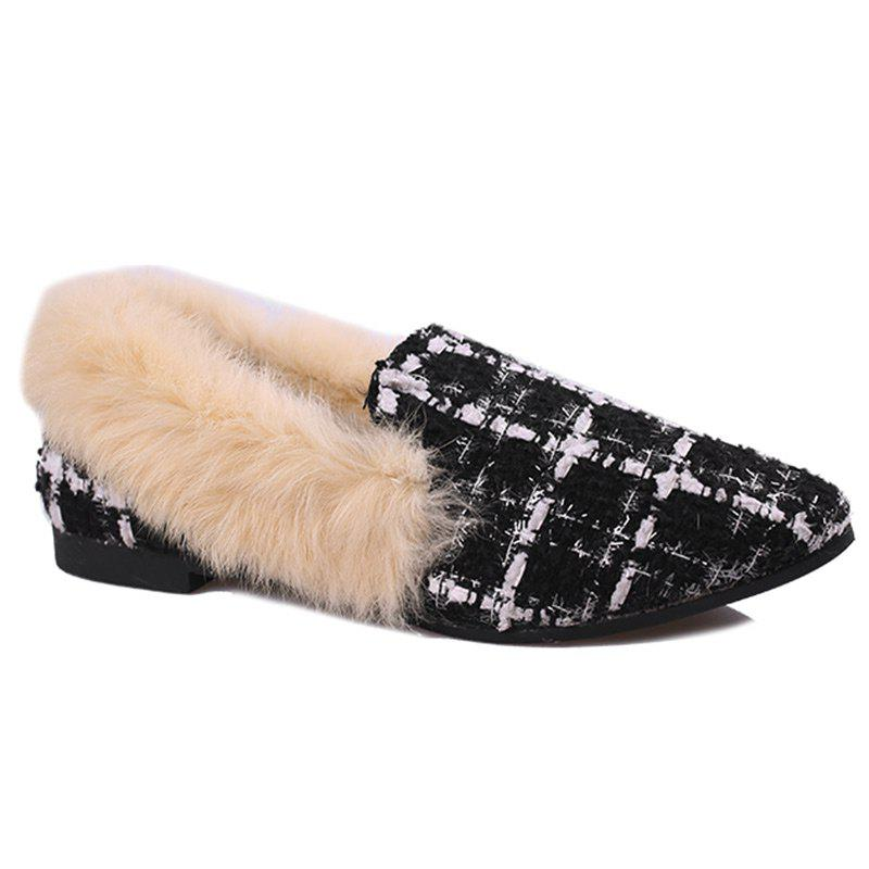 Sale Faux  Fur Collar Color Block Flat Shoes