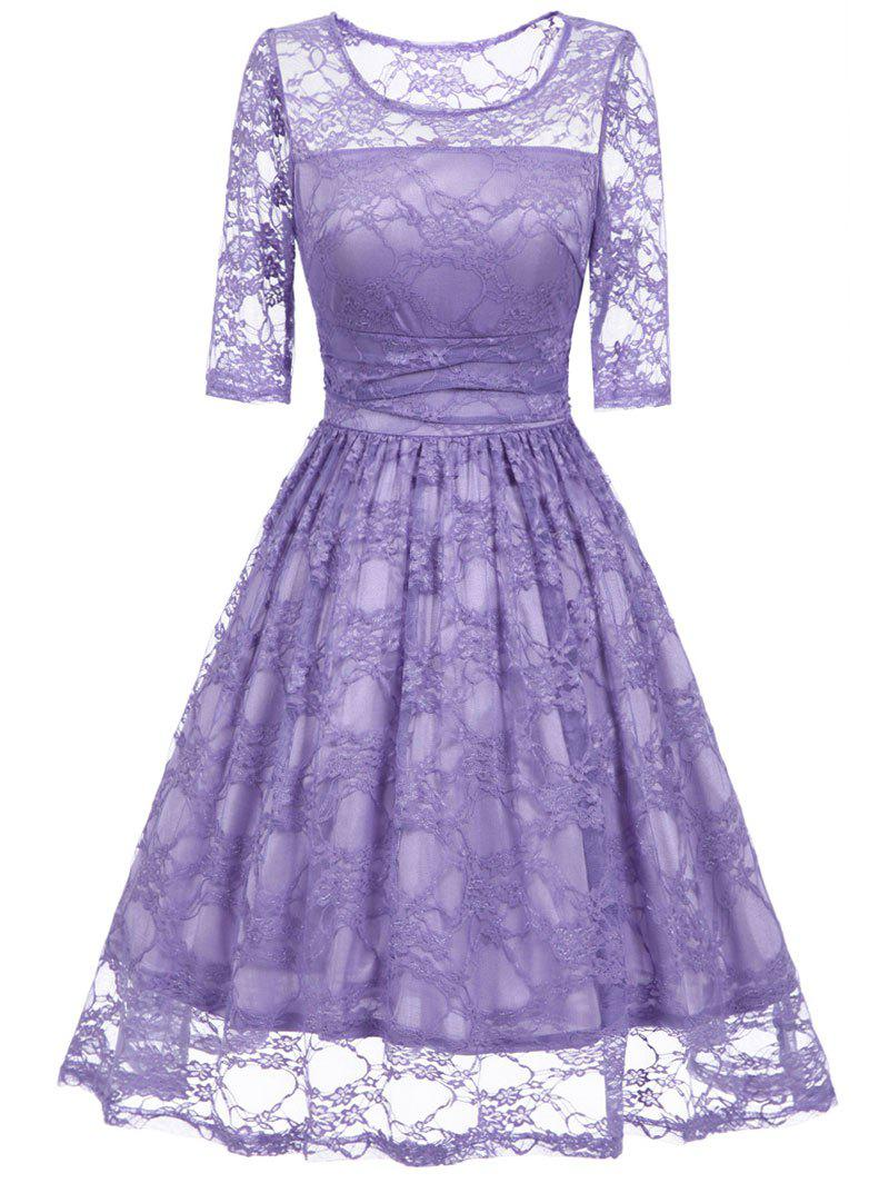 Affordable Lace Vintage Fit and Flare Dress