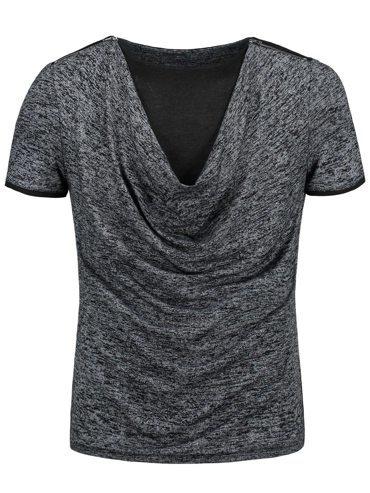 Unique Cowl Neck Marled T-shirt