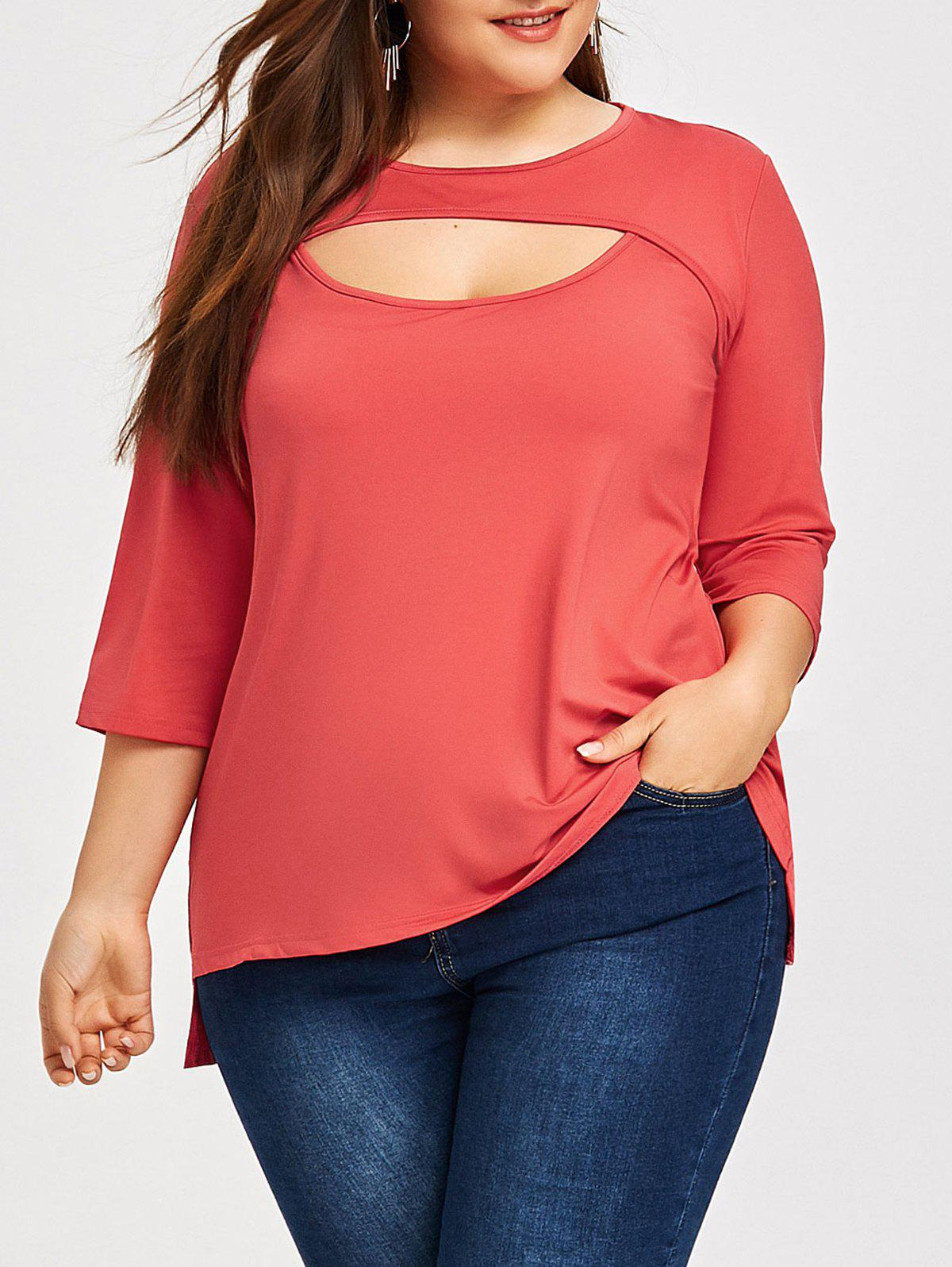 Fancy Plus Size Keyhole Cutout T-shirt