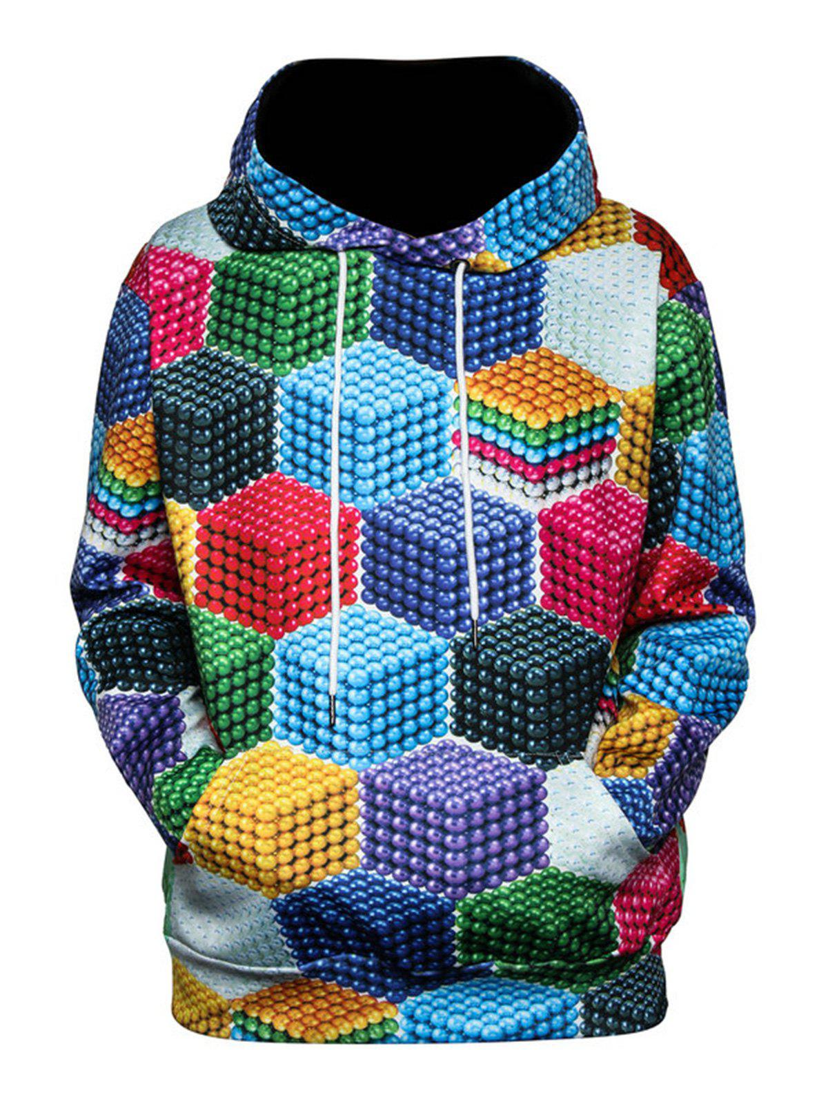 Shop Color Block Magnetic Balls 3D Print Pullover Hoodie