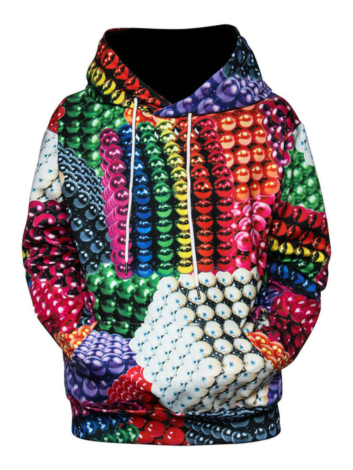 Shop Colorful Magnetic Balls 3D Print Pullover Hoodie