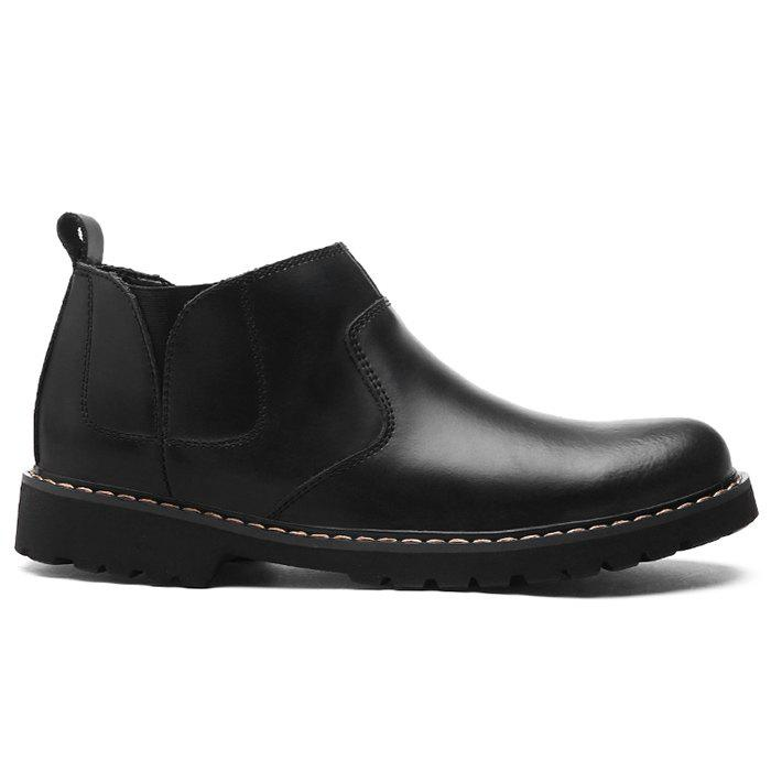 Shop Slip-On Faux Leather Ankle Boots