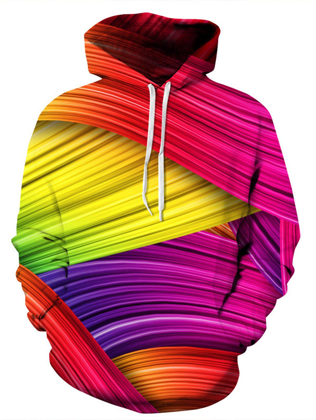 Sale Colorful Rainbow 3D Print Pullover Hoodie