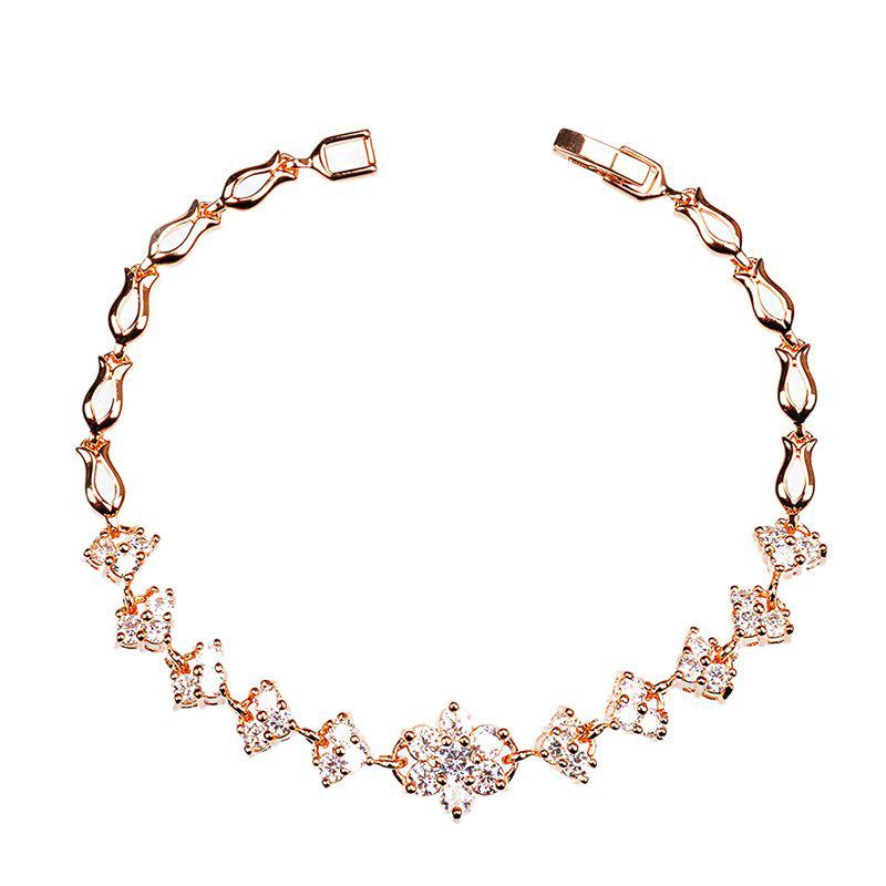 Outfit Sparkly Rhinestoned Floral Chain Bracelet