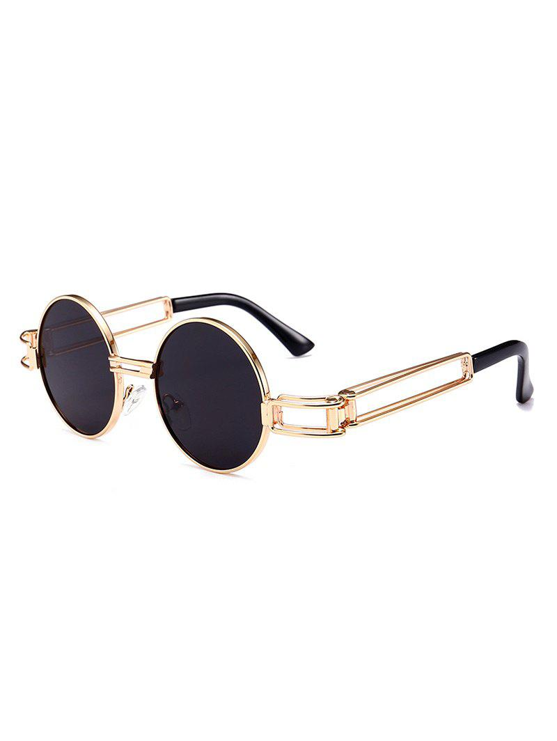 Hot Punk Style Hollow Out Metal Frame Decorated Round Sunglasses
