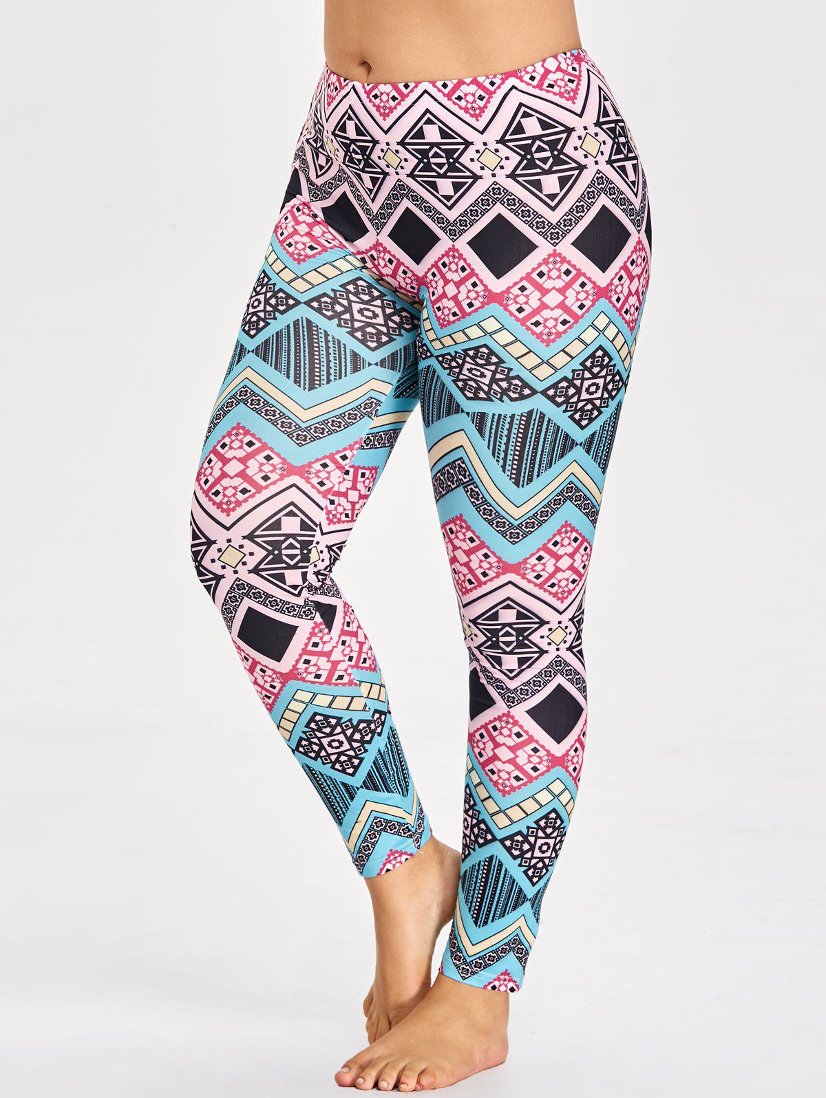 Cheap Tribal Plus Size Pattern Leggings for Yoga