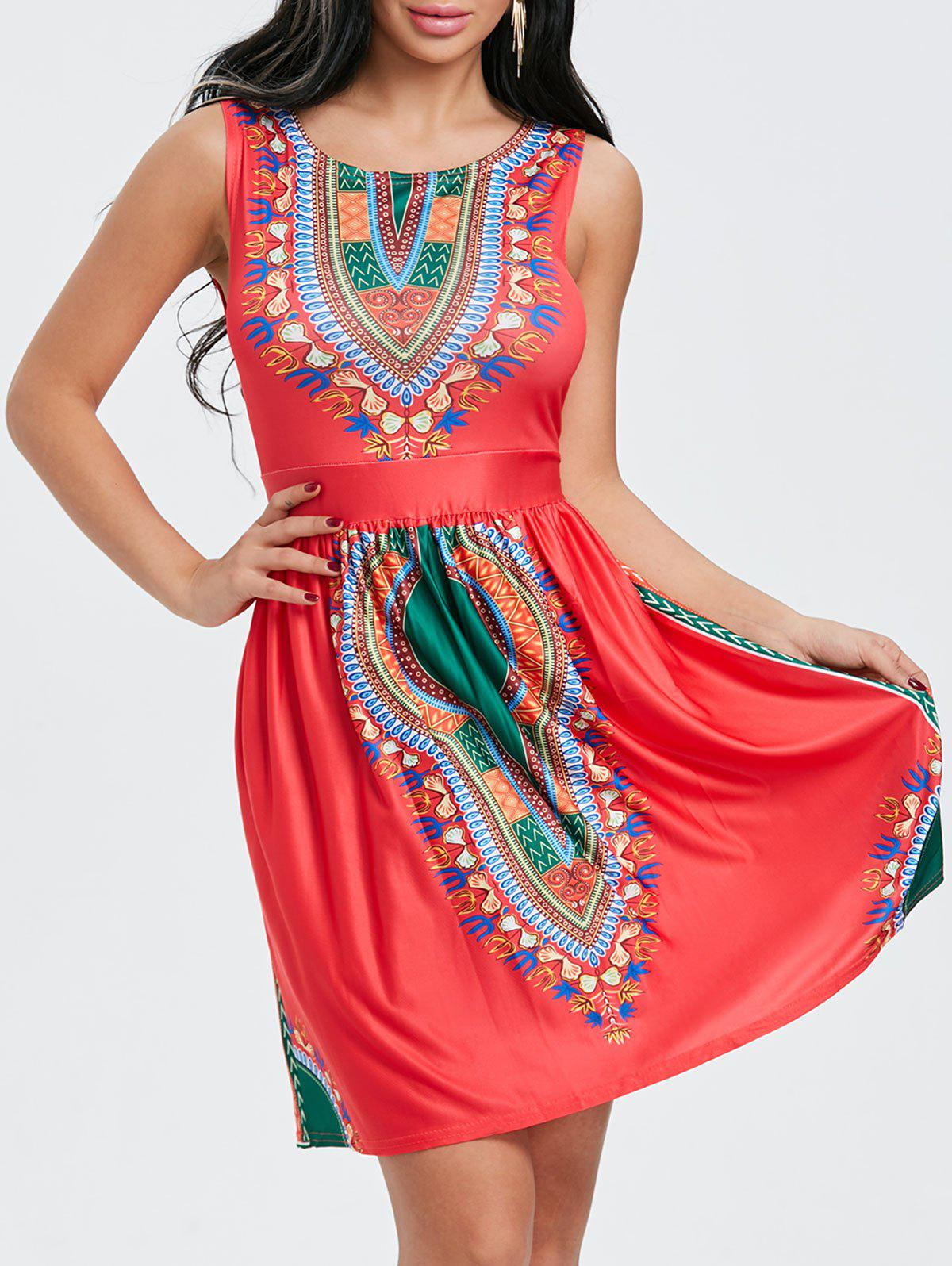 Outfits Ethnic Print Sleeveless Dress