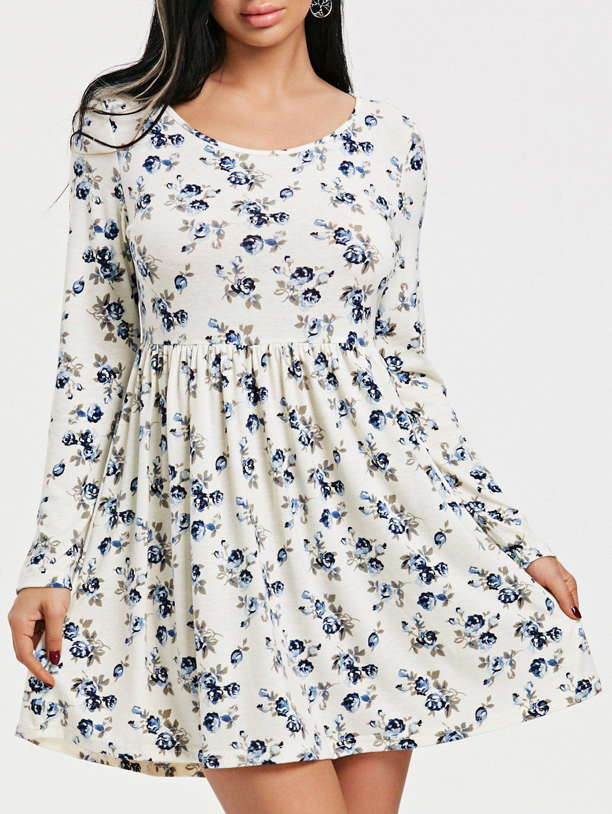 Discount Long Sleeve Tiny Floral Print Dress