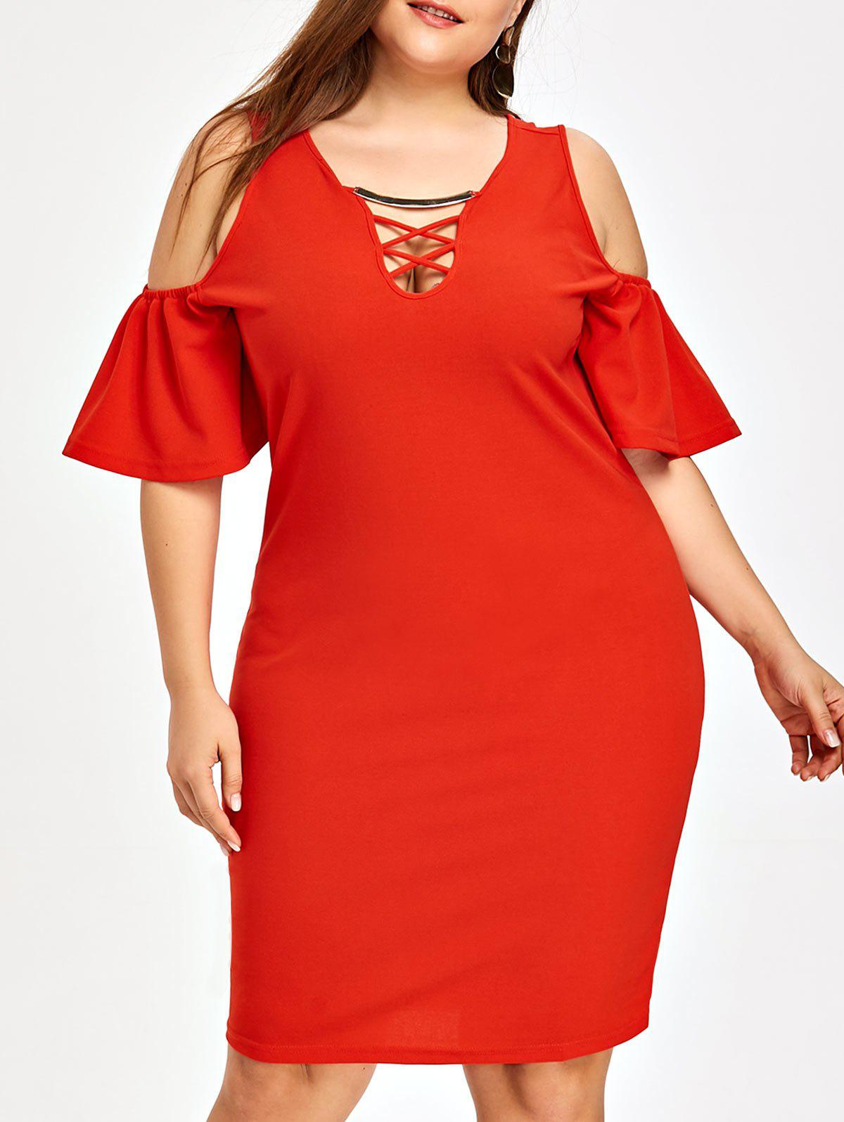 4202af3ccfe Plus Size Cold Shoulder Criss Cross Dress - 2xl. rosegal