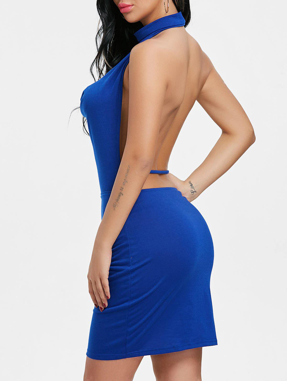 Latest Draped Halter Neck Backlesss Dress with Choker