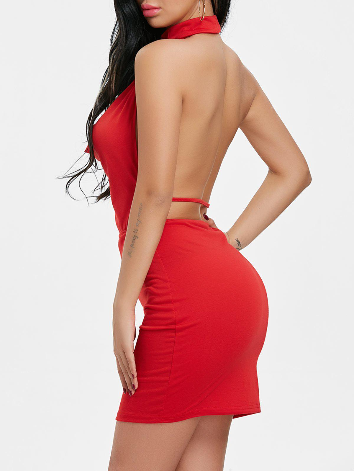 Trendy Draped Halter Neck Backlesss Dress with Choker
