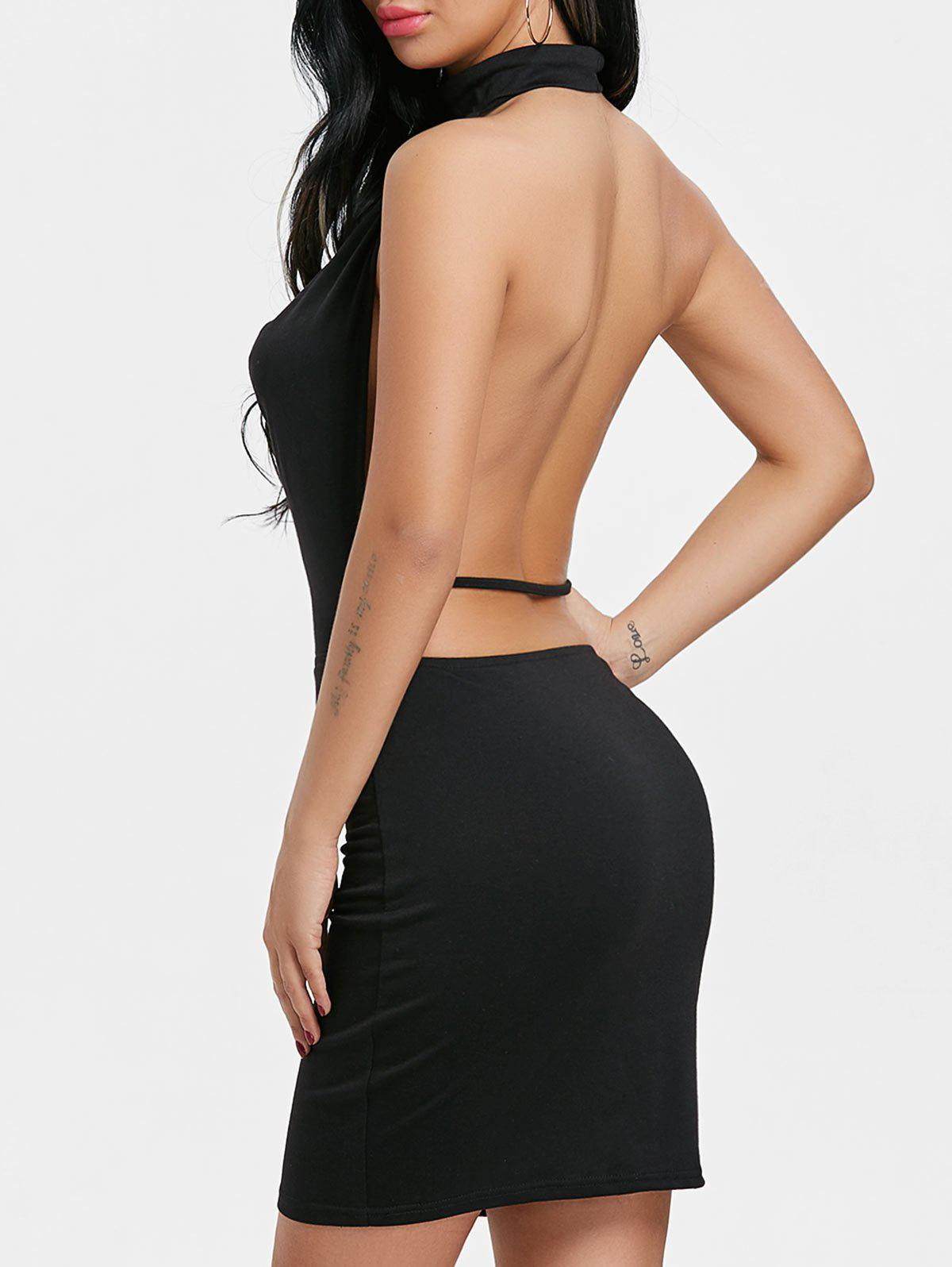 Fashion Draped Halter Neck Backlesss Dress with Choker