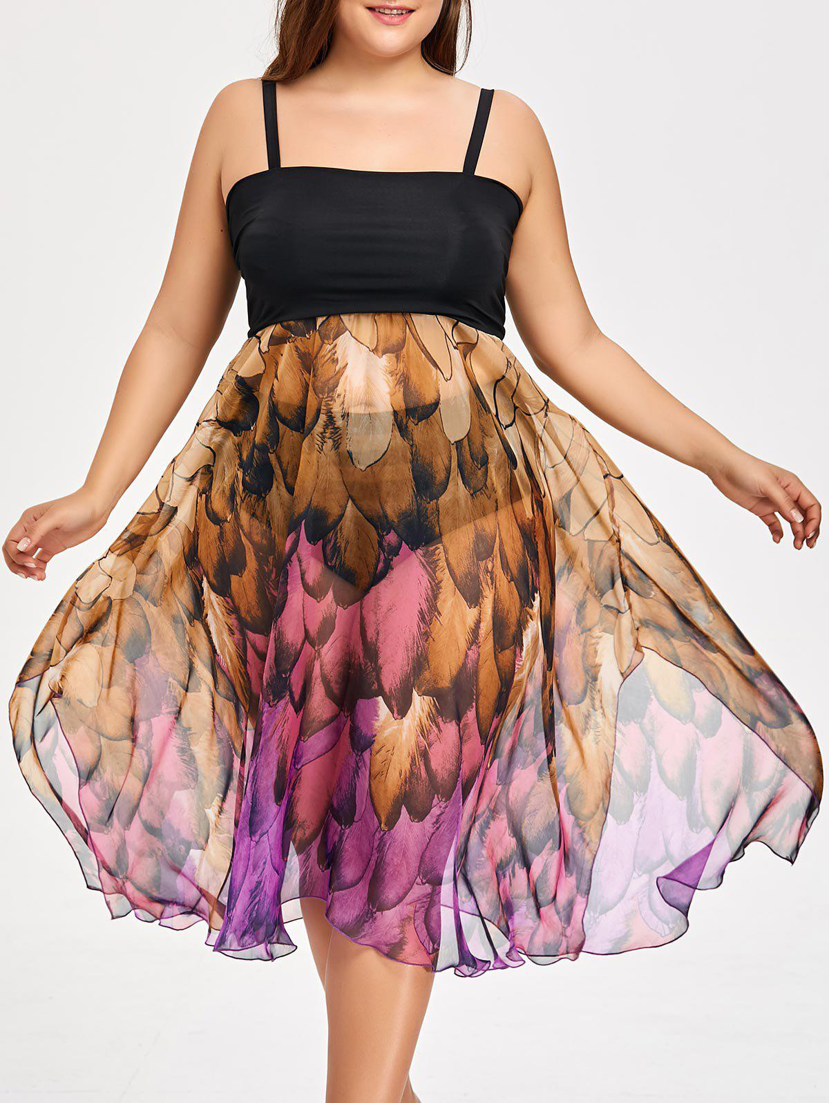 Online Plus Size Feather Print Convertible Cover-up Dress