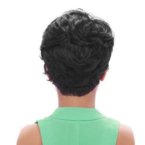 Short Oblique Bang Fluffy Straight Synthetic Wig -
