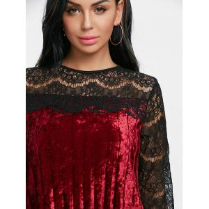 Lace Panel Pleated Velvet Dress -