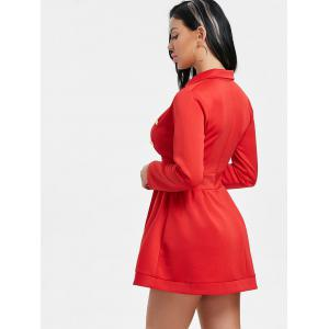 Lapel Collar Button Long Sleeve Dress -