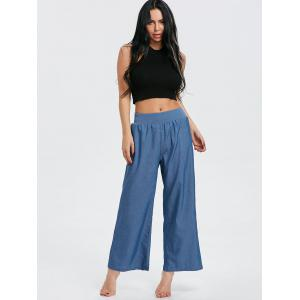 Elastic Waist Wide Leg Denim Pants -