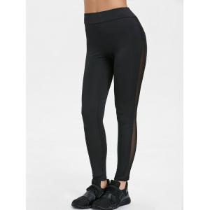 High Waisted Mesh Insert Yoga Pants -