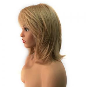 Short Inclined Bang Straight Heat Resistant Synthetic Capless Wig -
