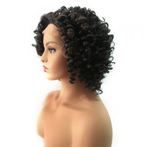 Short Side Bang Fluffy Colormix Kinky Curly Lace Front Synthetic Wig -