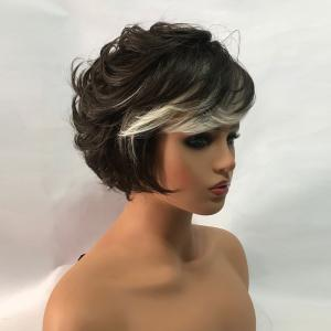 Short Side Bang Colormix Fluffy Layered Slightly Curly Synthetic Wig -
