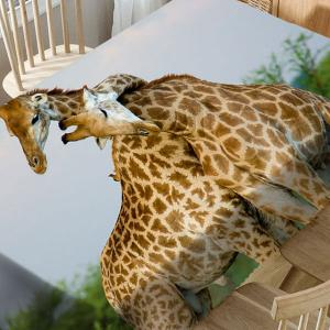 Romantic Giraffe Couple 3D Print Waterproof Table Cloth -