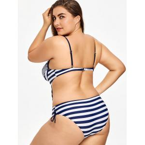 Striped Plus Size Low Back Swimsuit -