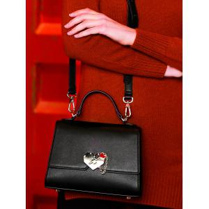 Metal Embellishment Heart Handbag -