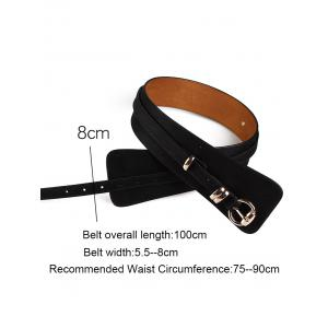 Vintage Metal Round Buckle Embellished Wide Waist Belt -