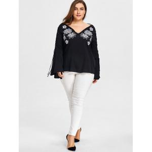 Plus Size V-neck Cutout Sleeve Embroidery Blouse -