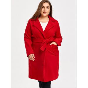 Wool Blend Belted Plus Size Trench Coat -