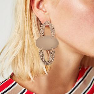 Carved Geometric Metal Layered Drop Earrings -