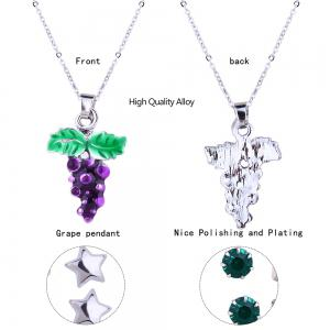 Metal Grape Pendant Necklace and Stud Earrings Set -