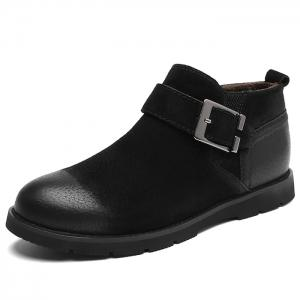 PU Leather Side Zip Buckle Strap Causal Shoes -