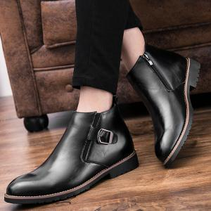 Zip Buckle Pointed Toe Chukka Boots -