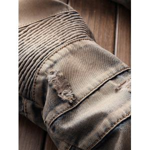 Straight Leg Retro Distressed Biker Jeans -