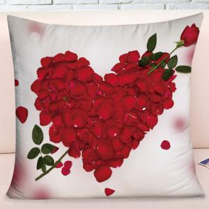 Valentine's Day Rose Petals Heart Pattern Throw Pillow Case -