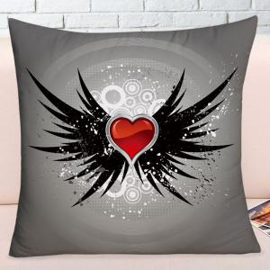Valentine's Day Heart with Wings Printed Throw Pillow Case -