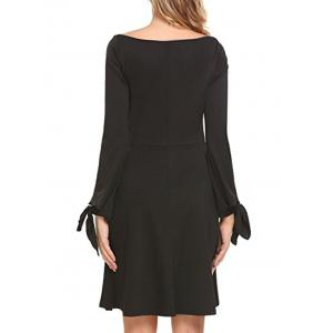 Long Sleeve Boat Neck A Line Dress -