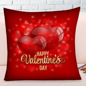 Happy Valentine's Day Hearts Print Square Pillowcase -