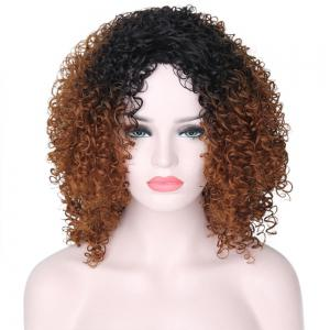 Long Side Bang Ombre Fluffy Afro Kinky Curly Synthetic Wig -