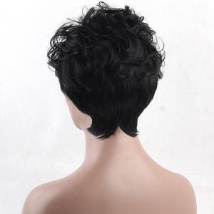 Short Inclined Bang Layered Fluffy Curly Synthetic Wig -