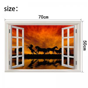 Horse In The Sunset Pattern Removable Window View Wall Sticker -