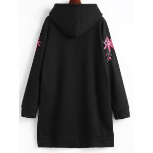 Fleece Lined Embroidered Plus Size Hoodie Dress -