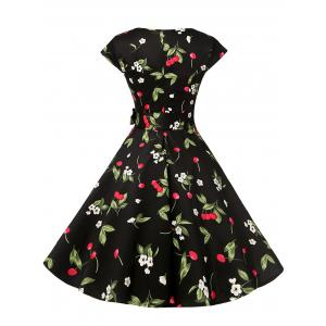 Short Sleeve Cherry Print A Line Dress -